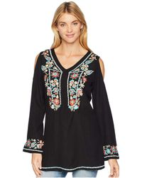 Scully - Camelotte Cold Shoulder Embroidered Tunic (black) Women's Blouse - Lyst