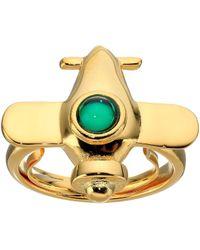 Kenneth Jay Lane - Airplane W/ Emerald Center Adjustable Ring - Lyst