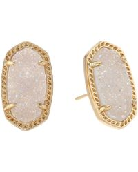 Kendra Scott - Ellie Earring (navy Gunmetal/blue Drusy) Earring - Lyst