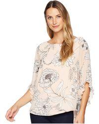 Calvin Klein - Printed Chiffon Blouse With Ruffle Sleeve (blush Combo) Women's Blouse - Lyst