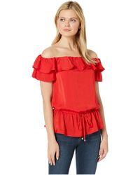 58535acc2c002 MICHAEL Michael Kors - Off Shoulder Ruffle Top (scarlet) Women s Clothing -  Lyst