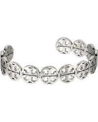 Tory Burch - Logo Cuff Bracelet (tory Silver) Bracelet - Lyst