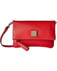 Dooney & Bourke - Saffiano Fold-over Zip Crossbody (red/self Trim) Cross Body Handbags - Lyst