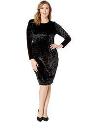 MICHAEL Michael Kors - Plus Size Panne Velvet Crew Long Sleeve Dress (black) Women's Dress - Lyst