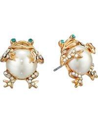 Betsey Johnson - Pearl Critters Frog Stud Earrings - Lyst