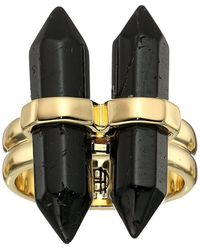 House of Harlow 1960 - Double Crystal Dainty Ring (gold/black Tourmaline) Ring - Lyst