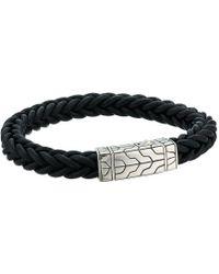 John Hardy - Classic Chain 8.5mm Station Bracelet In Black Leather - Lyst