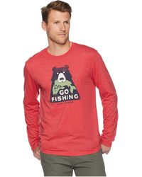 Life Is Good. - Let's Go Fishing Cool Long Sleeve T-shirt (americana Red) Men's T Shirt - Lyst