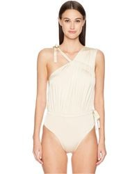 10 Crosby Derek Lam - Asymmetric Ruched Tie Maillot (champagne) Women's Swimsuits One Piece - Lyst