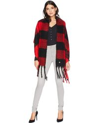 Betsey Johnson - Checked Out Blanket Wrap (red) Women's Sweater - Lyst