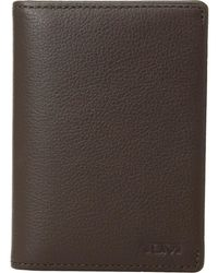Lyst tumi delta gusseted leather card case in brown for men tumi nassau gusseted card case dark brown textured credit card wallet lyst colourmoves