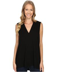 Vince Camuto - Sleeveless V-neck Top (rich Black) Women's Clothing - Lyst