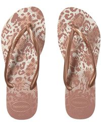 5798b13f0 Havaianas - Slim Animals Flip Flops (white golden Blush) Women s Sandals -  Lyst