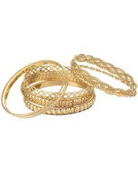 Guess - Six Piece Textured Bangle Set (silver) Bracelet - Lyst