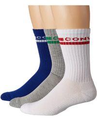 Converse - 3-pack Double Stripe Crew (white/grey/black) Men's Low Cut Socks Shoes - Lyst