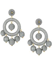 Kenneth Jay Lane - Graduated Silver Thread Wrapped Balls Drops W/ Dome Top Post Earrings (silver) Earring - Lyst