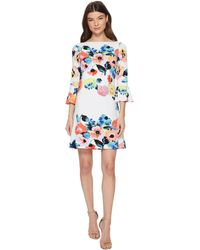 Tahari - Trumpet Sleeve Floral Shift Dress - Lyst