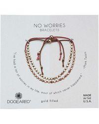 Dogeared - No Worries, Set Of 2, Flat Bead Silk Bracelets (gold/taupe/pink) Bracelet - Lyst