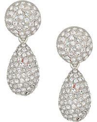 Nina - Medium Teardrop Pave Swarovski Stones Earrings (rhodium/white) Earring - Lyst