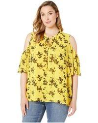 00b1e04f4bf85b MICHAEL Michael Kors - Plus Size Bold Botanical Tie Cold Shoulder Top  (golden Yellow/