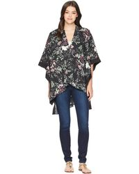 Steve Madden - Floral Ruana With Side Border (black) Women's Clothing - Lyst