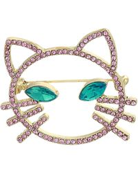 Betsey Johnson - Pink Stone Open Cat Face Pin (pink) Brooches Pins - Lyst