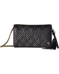 Tory Burch - Fleming Flat Wallet Crossbody (black) Cross Body Handbags - Lyst
