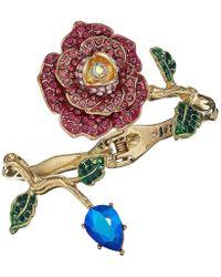 Betsey Johnson - Gold-tone Multicolor Crystal Rose Bangle Bracelet - Lyst