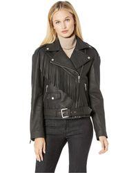 Marc New York - Zariah Fringe Whipstitch Soft Lamb Leather (black) Women's Coat - Lyst