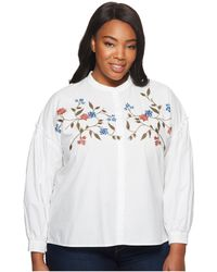Two By Vince Camuto - Plus Size Long Sleeve Embroidered Bubble Sleeve Button Down Shirt - Lyst