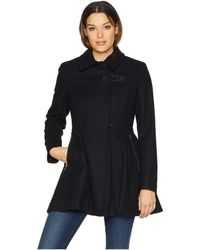 Calvin Klein - Wool Pleated Skirt Coat With Asymmetrical Zipper Details (black) Women's Coat - Lyst