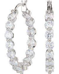 Nina - Medium Cz Hoop Earrings (rose Gold/white Cz) Earring - Lyst
