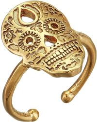 ALEX AND ANI - Calavera Statement Adjustable Ring - Precious Metal (14kt Gold Plated) Ring - Lyst