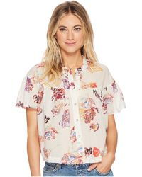 Free People - Sweet Escape Button Down Top (ivory) Women's Short Sleeve Button Up - Lyst