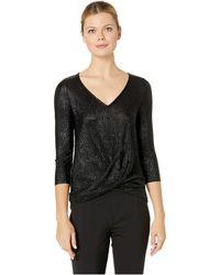 Three Dots - Pleated Lurex Twist Top W/ Lace Trim (black) Women's Clothing - Lyst