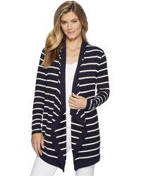 Lauren by Ralph Lauren - Striped Open-front Cardigan (navy/mascarpone Cream) Women's Sweater - Lyst