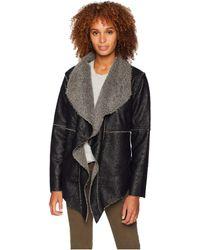 Dylan By True Grit - Embossed Faux Suede Pile Ruffle Coat (black) Women's Coat - Lyst