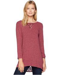 Mod-o-doc - Slubbed Sweater Knit Bateau Neck Tunic With Lace Inserts (cranberry) Women's Sweater - Lyst