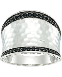 John Hardy - Classic Chain Hammered Saddle Ring With Black Sapphire And Spinel (hammered Silver) Ring - Lyst