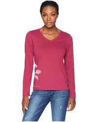 Life Is Good. - Bumbling Around Crusher Long Sleeve Vee (wild Cherry) Women's T Shirt - Lyst