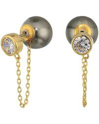 Cole Haan - Pearl/bezel Set Cubic Zirconia Front To Back Earrings (gold/clear Cubic Zirconia) Earring - Lyst