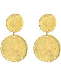 Kenneth Jay Lane - Satin Gold Coin Double Drop Pierced Ear Earrings (satin Gold) Earring - Lyst