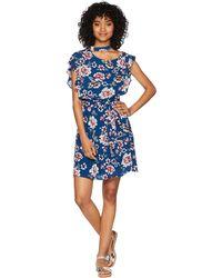 Jack BB Dakota - Kiss It Better Indigo Botanical Printed Crinkle Viscose Dress (dusty Blue) Women's Dress - Lyst