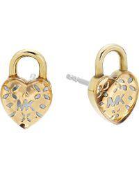 Michael Kors - Love Logo Heart Lock Stud Earrings (gold) Earring - Lyst