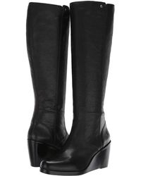 be65d2b5e41 Frye - Emma Wedge Tall (black Oiled Pull-up) Women s Boots - Lyst