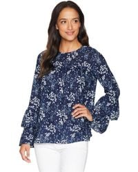 MICHAEL Michael Kors - Scatter Blooms Tier Sleeve Top (true Navy/light Chambray) Women's Clothing - Lyst