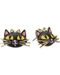 Betsey Johnson - Enchanted Forest Cat Stud Earrings - Lyst