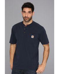 57a4503071 Carhartt - Workwear Pocket S s Henley (navy) Men s Short Sleeve Pullover -