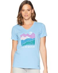 Life Is Good. - Life Isn't Easy Mountains Crusher Vee T-shirt (powder Blue) Women's T Shirt - Lyst