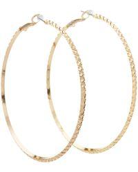 Guess - Diamond Cut Hoop Earring - Lyst